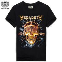 Wholesale Tshirt Neck Buttons Men - [Men bone] Men T Shirt Black T-Shirt Tshirt Men's Shirt Cotton Megadeth Skull Print Heavy Metal Hip Hop Rock Summer Style Tee