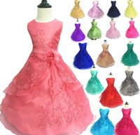 Wholesale Bridesmaid Clothes - High quality Girl Dress with Hoop Inside Flower Embroidered Party Wedding Bridesmaid Princess Dresses Formal Children Clothes dress JC12