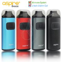Wholesale Aspire One Battery - Authentic Aspire Breeze Starter Kit All-in-one 2ml Capacity 650mAh Built in Battery TPD U-tech 0.6ohm Rebuildable Coil e cigs vapor mods DHL
