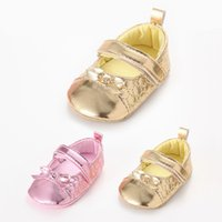 Wholesale Toddlers Ballet Shoes Pink - Wholesale- Golden Pink PU Leather Newborn Infant Toddler Baby Girls Princess Mary Jane Bow Shoes Soft Soled Shoe Ballet Dress First Walkers