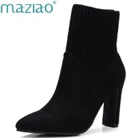 Hot venda Pointed Toe Stretch Knit Women Sock Boots Moda Striped High Heel Mid-Calf Mulheres Botas Winter Women Shoes