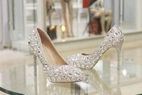 Wholesale Cheap Platforms - Fashion High Heeled Shoes for Wedding Bridal with Silver Crystal Stock Fast Shipping Runway Party Cheap Platform Pumps Accessories