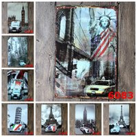 Wholesale Eiffel Tower Stickers - Sign Painting Statue of Liberty Eiffel Tower Telephone Booth Vintage Craft Tin Wall Retro Metal Poster Bar Pub Signs Room Wall Art Sticker