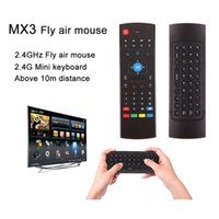 Wholesale Tv Air Phone - MX3 2.4G Wireless Remote mini keyboard MX3 Fly Air Mouse for android tv box smart phone OTT TV Box Notebook Tablet Pc