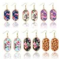 Wholesale Golden Flower Patterns - flower pattern earrings for women 6 colors acrylic dangle golden plated jewelry