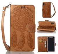 Dreamcatcher Flip Brieftasche Leder TPU Card Slots Fall Für iPhone 5 5 S SE 6 6 S 7 8 Plus X Samsung Galaxy S8 Hinweis Note8 Grand Prime Freies Band