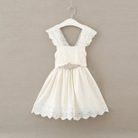 Wholesale Korean Baby Belt - baby girl lace dress New Summer Rhinestone Belt Ruffle Children Princess Dresses Cute Korean Kids Party Dresses C854