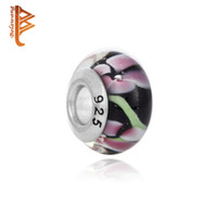 BELAWANG Atacado 925 Silver Handmade Lampwork Beads Pink Flower Black Murano Glass Bead Fit Pandora Charm BraceletBangle Jewelry Making
