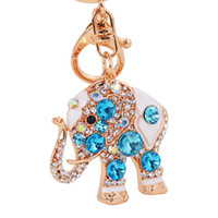 Wholesale Wedding Party Favor Keychains - Elephant Crystal Bag Pendant Purse Bag Buckle Trendy Key chains Holder Keyrings Keychains Wedding Party Favor and Gifts DHL Free Shipping