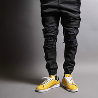 Wholesale Urban Brand Clothing - Wholesale- hip hop mens jumpsuit urban brand-clothing Publish Max Destructed joging black chinos skinny joggers men dress jogger pants