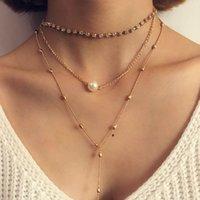 Wholesale Twisted Pearl Rhinestone Necklace - Fashion Women Lady Three Layer Imitation Pearls Rhinestone Crystal Tassel Long Chain Choker Pendant Charm Necklace Jewelry Wholesale