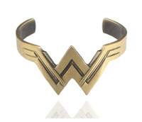 Wholesale Vintage Mouth - Vintage Wonder Woman Bracelet W Shape Open Mouth Wristband Bangle Retro Bronze Antique Stylish Cosplay Jewlery Gift