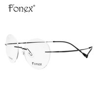 Wholesale Korean Retro Eyeglasses - Wholesale- Brand Designer 2017 New Fashion Retro Men Male Round Oval Rimless Glasses Memory Titanium Eyeglasses Myopia Optical Frame Korean