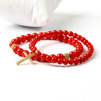 Wholesale gold coral rings - Brand Easter Jewelry Wholesale 5mm A Grade Dyed Red Coral Stone Clear Cz Jesus Cross Beaded Bracelet For Lover Gift