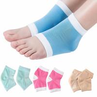 Wholesale Gel Spa Socks - Gel Heel Socks Moisturing Spa Gel Socks 4 Colors Feet Care Cracked Foot Dry Hard Skin Protector Heel Support 2pcs pair OOA2131