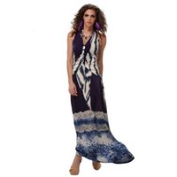Wholesale Show Ankle Length For Dresses - Dresses For Womens The European and American Fashion Printing Sexy V-neck Cultivate One's Morality Show Thin Neck Long Dress Evening Dress