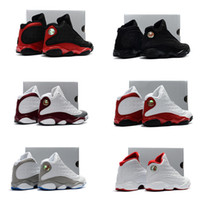 Wholesale Girl Hooks - 13s Bred basketball shoes for kids Retro 13 Black cats History of Flight Sports sneaker boy and girl children athletic footwear