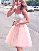 Wholesale 12 Tank Tops Cheap - Straight Straps Tank Cheap Homecoming Dresses Satin Top Puffy Tulle Skirt 2 Piece Evening Party Dresses