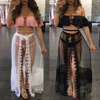 Wholesale Black Open Front Skirt - Women's Sexy Open-Front Split Hem Sheer Mesh See Through Lace Up Bikini Cover Ups Maxi Skirt