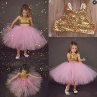 Wholesale Tea Length Skirt Top - Pink Two Pieces Flower Girls Dresses For toddler Sequined Gold Top Tutu Skirts First Communion Dress Tea Length Summer Girls Pageant Gowns