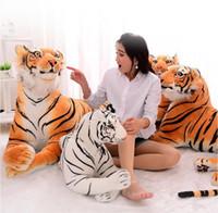 Wholesale White Tiger Plush - Hot Sale 3D Simulation Tiger Plush Toys Sitting Tiger Soft Toys White   Black Tiger Stuffed Animal For Children Birthday Gift