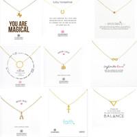 gold einhorn anhänger großhandel-9 Arten Mit Weißer Karte Gold Dogeared Halskette Elephant Pearl Love Wings Einhorn Schlüsselanhänger Gold Halskette Für Frauen Modeschmuck