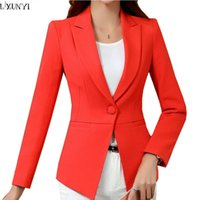 Wholesale Korean Suits For Women White - LXUNYI Autumn Korean Ladies Blazer jackets White 4XL Plus Size One Button Slim Office Blazers For Women Suit Coat Long Sleeve