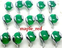 güzel yeşim halkaları toptan satış-Toptan 20 adet / grup Güzel Yeşil Yeşim Taş Yüzükler karışık Boyutu Kadın Takı Yüzükler Düşük Fiyat