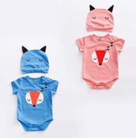 Wholesale 2017 Summer New Children s Clothing Love Sleeping Little Fox Pattern With A Hat To Climb Clothes To Wear Ashort Sleeved Shirt Pieces
