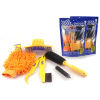 Wholesale Cycles Tires - 6 pcs lot Bicycle Chain Cleaner Cycling Clean Tire Brushes Tool Kits set Mountain Road Bike Cleaning Gloves Bicycle Cleaing Kits