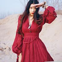 hermosos kimonos al por mayor-Vestido rojo de las mujeres Maxi Robe más el estilo de Nation del verano del tamaño Vestido rojo flojo de Danda del algodón de la manera hermoso