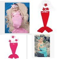 Wholesale Mermaid Crochet For Babies - Kid Baby Boutique Clothing Crochet Mermaid Princess Dress Infant Clothing With Knit Headband Suit For Birthday Photography