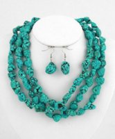 "Wholesale Natural Jade Beads Necklace - Long 50""inch Natural turquoise irregular Beads jewelry Necklace earrings AAA"