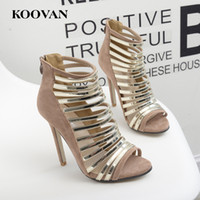 Wholesale Ladies High Heels Size 11 - Koovan Fashion Women Shoes 2017 New Summer Fish Mouth 11 Cm High Heel Hollowing Thin Band Gladiator Ladies Sandals Big Size 35-40 W085