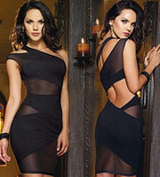 Wholesale one shoulder clubwear dress black - 2017 New Women's Sexy Nightclub Bandage Dress One Shoulder Cut Out Mesh Evening Party Dress Clubwear