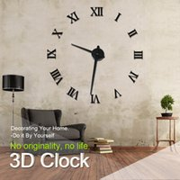 Wholesale Diy Modern Wall Clocks - Wholesale-Modern Design DIY 3D Big Wall Clock Home Decor Quartz Horloge Wall Watch Stickers Reloj De Pared Acrylic Mirror Clocks 20 Inch