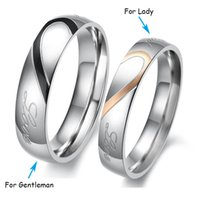 Wholesale Couples Black Wedding Bands - Rose Gold   Black Couples Rings Heart Shaped Real Love Stainless Steel Engagement Band Women Men Romantic Wedding Rings