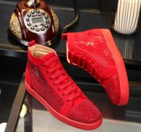 Wholesale Cutout Lace - Wholesale New brand men and women cutout genuine leather with spiked toe red bottom high top sneakers,design causal flats sports shoes free