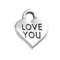 Vrai Coeur D'amour Pas Cher-Hot Selling Zinc Alloy Antique Silver Plated Love You et <b>True Love Heart</b> Charms Jewelry DIY Finding