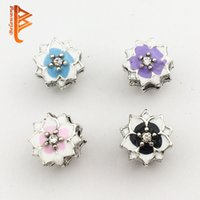 Alloy black magnolia - BELAWANG Fit Bracelet Necklaces Making Fashion Jewelry Accessories Enamel Magnolia Bloom With CZ Beads Silver Flower Charm Beads