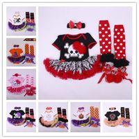 Wholesale Girls Skull Romper - Baby Girls Halloween Pumpkin Skull Head Short Sleeve Romper+Dress+ Bow Headband+Dot Stockings+Prewalker Shoe Tulle Flower Bubble Skirt