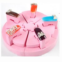 Großhandel-Blau ZOO Schwamm Nail Art Tipps Display Zerlegbare Praxis False Stand Holder Tools Hot