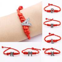 Wholesale Couple String - 2017 New Letters Bracelet Crystal Charms with Red Rope Lucky Bracelets for Women Men Child Cord String Line Handmade Jewelry For Couple