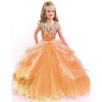 Wholesale Pagaent Dresses - Ball Gown Spaghetti Straps Flower Girl Dresses Beads Crystal Kids Beauty Pagaent Dress Tulle Ruffles Girls Pink Prom Gowns