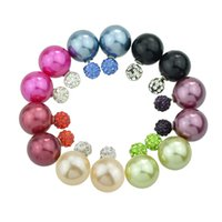 Wholesale Candy Stud Earrings - Brinco Perola Fashion Round Shape Double Imitation Pearl and Rhinestone Jewelry Candy Color Stud Earrings For Women