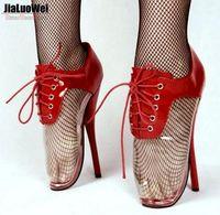 transparente desnudo al por mayor-2018 Nueva unisex Moda Rojo Botas desnudas Mujeres transparentes Tacones altos Botas de ballet Transparente PVC 18 CM Bombas con cordones Cosplay Polo Bailar zapatos