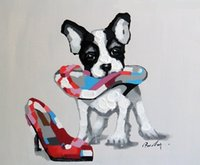 Wholesale Handpainted Shoes - Framed Boston Terrier Puppy Dog And Shoe,Genuine HandPainted Modern Cartoon Animal Pop Art oil Painting Canvas Museum Quality Multi size J57