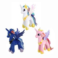 "Wholesale Horse Plush Doll - Hot New 3 Styles 8"" 20CM Lovely My Little Horse Poni Plush Doll Celestia Cadance Luna Dolls Kid's Gifts Soft Stuffed Toys"