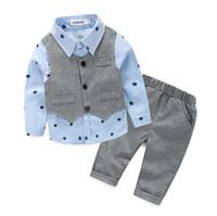 Wholesale Baby Boy Vest 18 24 - Kids Clothes Boys Clothing set Gentleman 3pieces Set Cotton Vest+Shirt+Pants Toddler Boys Clothing Children Suits Baby Boy Clothes Set 2017