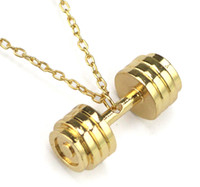 Wholesale Fitness Necklaces - MCW Men's Stainless Steel Dumbbell Pendant Necklaces Hip hop Necklace Fashion Gifts Fitness Barbell Jewellery Three Colors